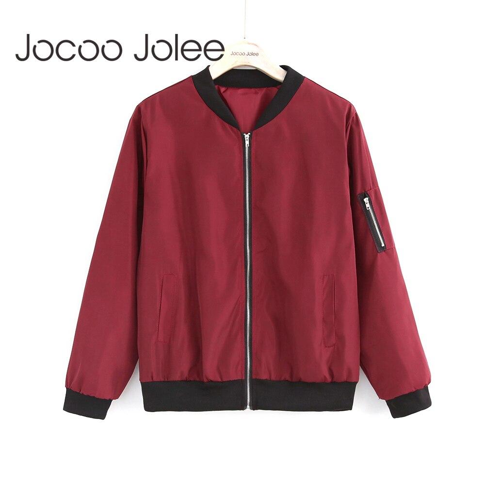 Jocoo Jolee Fashion Bomber Jacket Women Long Sleeve Basic Coats Casual Windbreaker Thin Slim Outerwear Short Jackets 2018