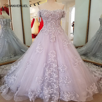 LS56379 Long Grey Evening Dress Lace Up Back A Line Organza Lace Sequins Robe Soiree Longue