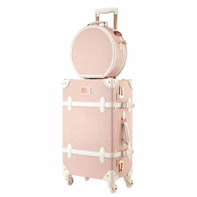 LeTrend Retro 26 inch Spinner Rolling Luggage Set Cute pink Travel Bag Trolley Women Suitcase Wheels Vintage Cabin Trunk