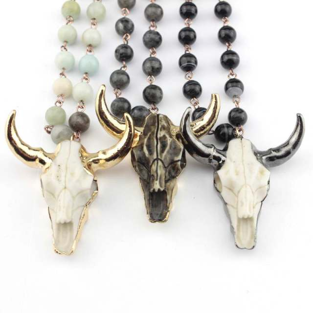 Natural Amazonite Stones Statement Necklaces Bohemian Tribal Skull Jewelry Long Chain Horn Pendant Necklace 2018 Spring Fashion 1