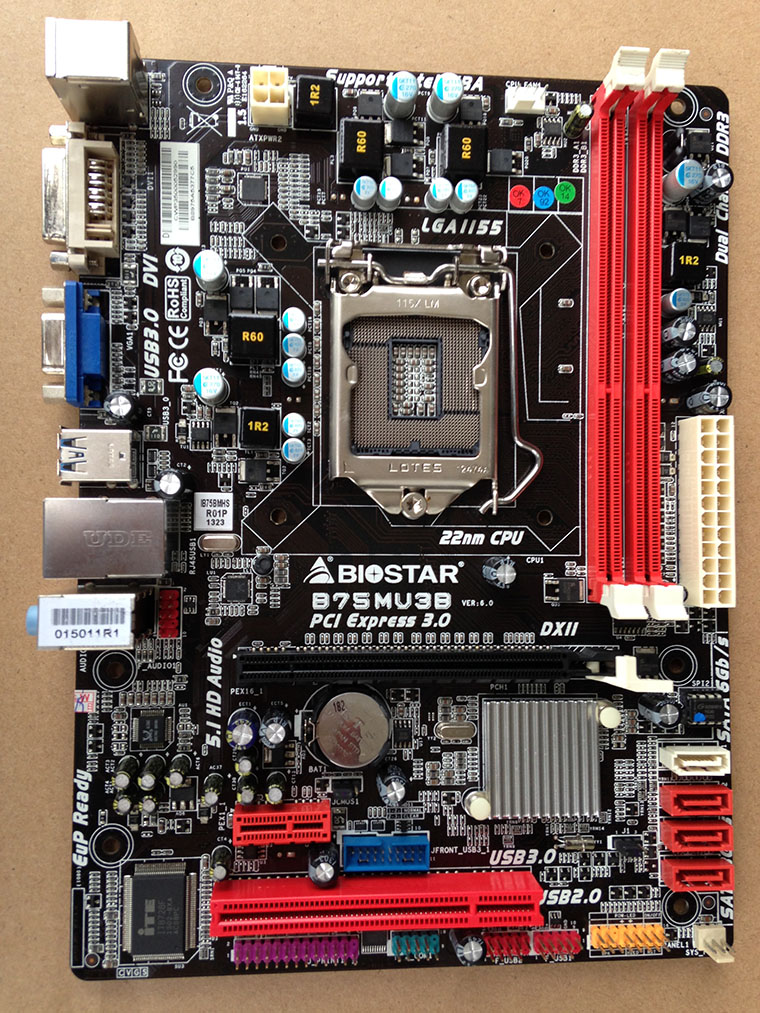 Используется, BIOSTAR B75MU3B оригинальный использовать рабочего Материнская плата Intel B75 LGA 1155 DDR3 16 г SATA3 USB3.0, 100% испытанное хорошее ...