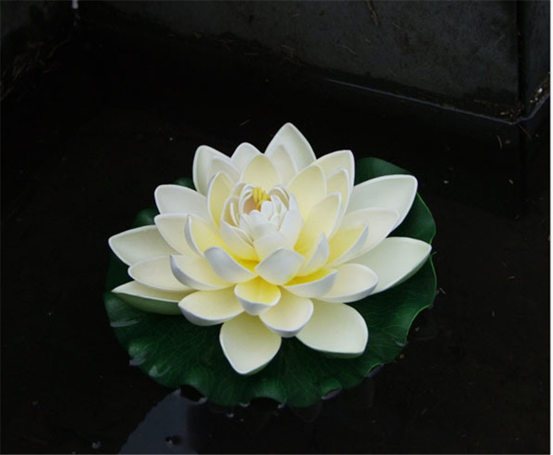1Pc 18cm/28cm Large Artificial EVA Lotus Flower Water Lily Water Fish Tank Decoration Props Wedding Garden Decoration