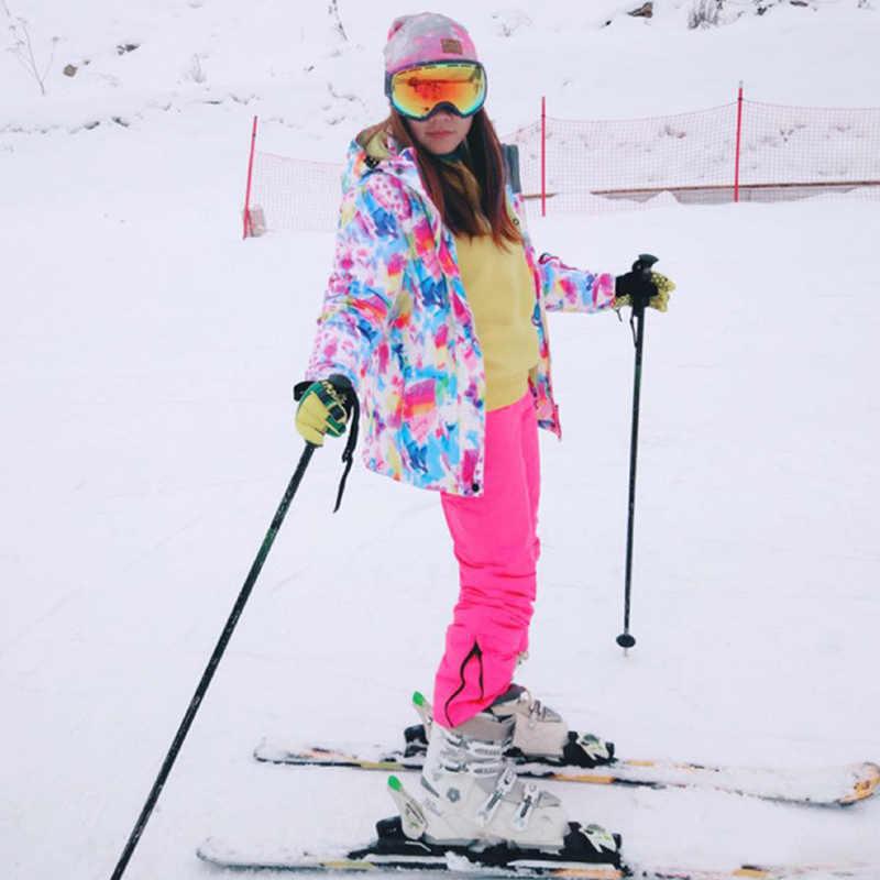 Tahan Air Tahan Angin Bernapas Ski Suit Set Warm Ski Salju Outdoor Snowboarding Wanita Jaket dan Celana Set Pakaian