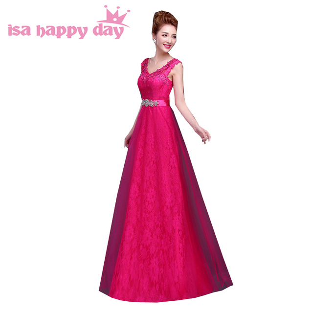 Hot Pink Fuchsia Long Sexy Gown Party Evening Elegant Wine Lace Plus