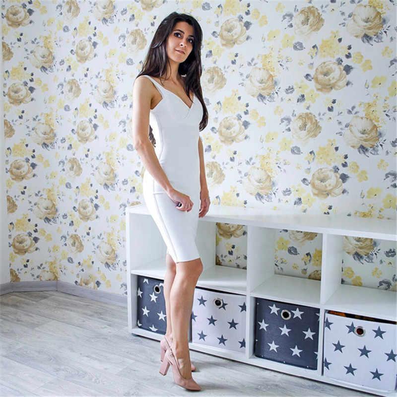 Новое поступление 2019 на бретельках белого цвета, облегающее Платье До Колена, Бандажное платье, женские вечерние платья с глубоким v-образным вырезом, оптовая продажа