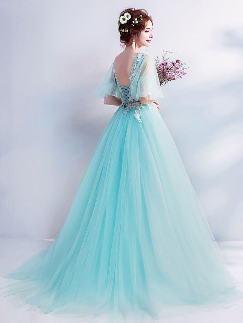 Mint Green Prom Dress Girls V-neck Half Sleeves Lace Applique Evening Gown