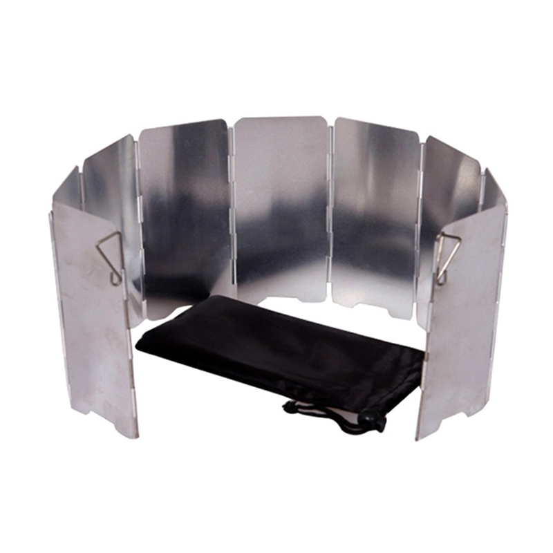 Durable Ultra-light Outdoor Camping Stoves 9 Plates Foldable Cooker Gas Stove Silver Wind Shield Screens Aluminum Windshield