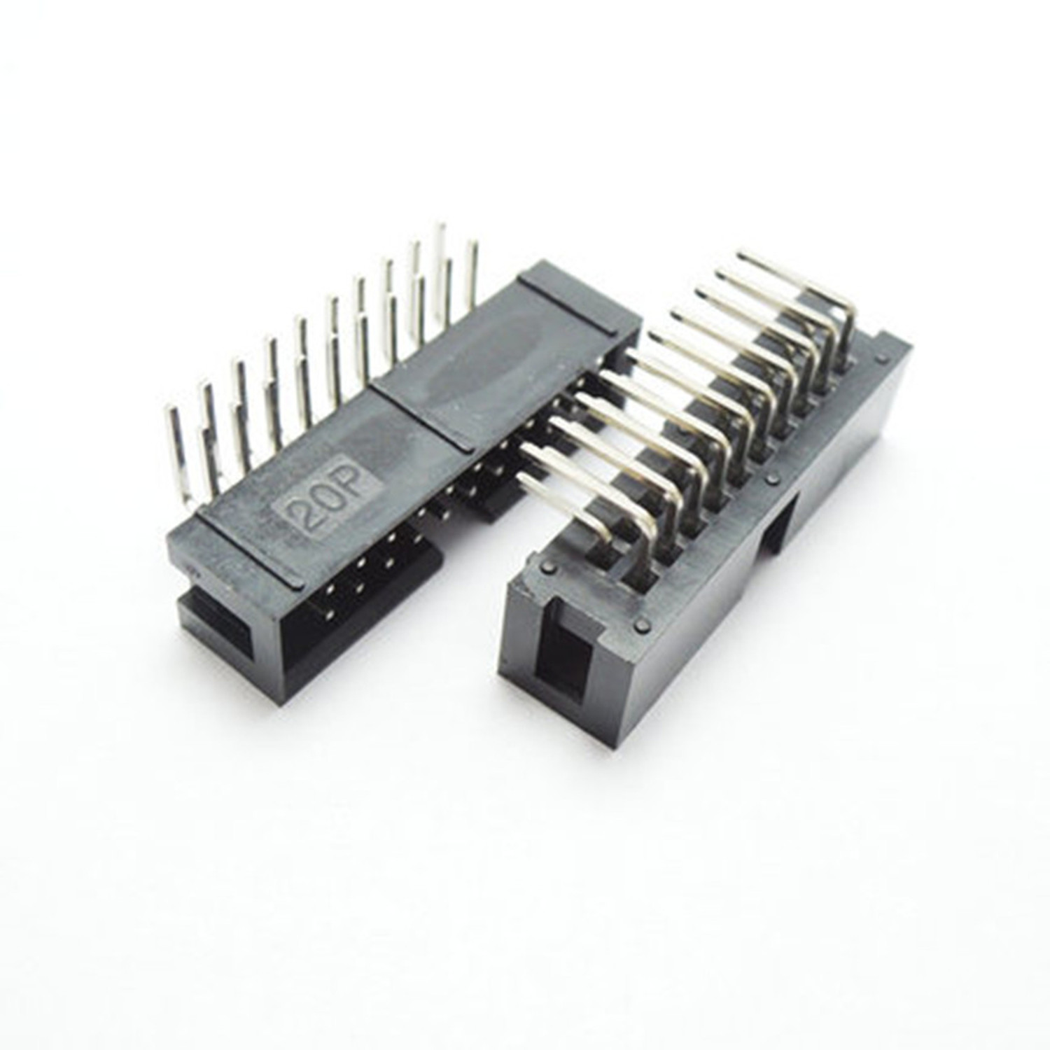 10PCS DC3 20 Pin 2x10Pin Right Angle Double Row Pitch 2.54mm Double-spaced Pin Male IDC Socket Box Header Connector High Quality