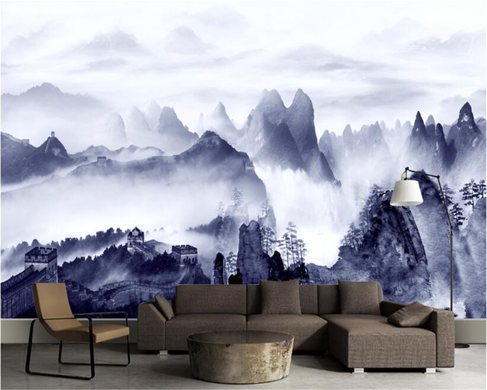 Download Wallpaper Mountain Bedroom - beibehang-papel-de-parede-3d-wallpaper-Fashion-classic-wallpaper-cloudy-mountain-peaks-mood-ink-landscape-bedroom  Graphic_619744.jpg