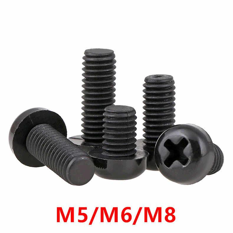 100 шт. M5 M6 M8 черный пластиковый нейлоновый Круглый Поддон полушаровая головка с крестом на верхушке винтовые болты шестигранные гайки L = 8 мм-50 мм