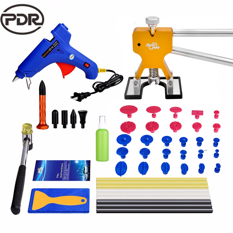 PDR Tools Kit Dent Removal Instruments Car Body Repair Kit Dent Lifter Tool Set 220V Glue Gun Suction Cup For Car Dents 5 second fix liquid plastic welding kit uv light repair tool glue kit