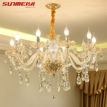 Luxury Candle Crystal Chandelier Lighting Fixtures Modern LED lustres de cristal Hanging Lamps For Bedroom Living Room 2018 new luxury led crystal chandelier living room bedroom indoor modern crystal lustres de cristal modern lighting chandeliers