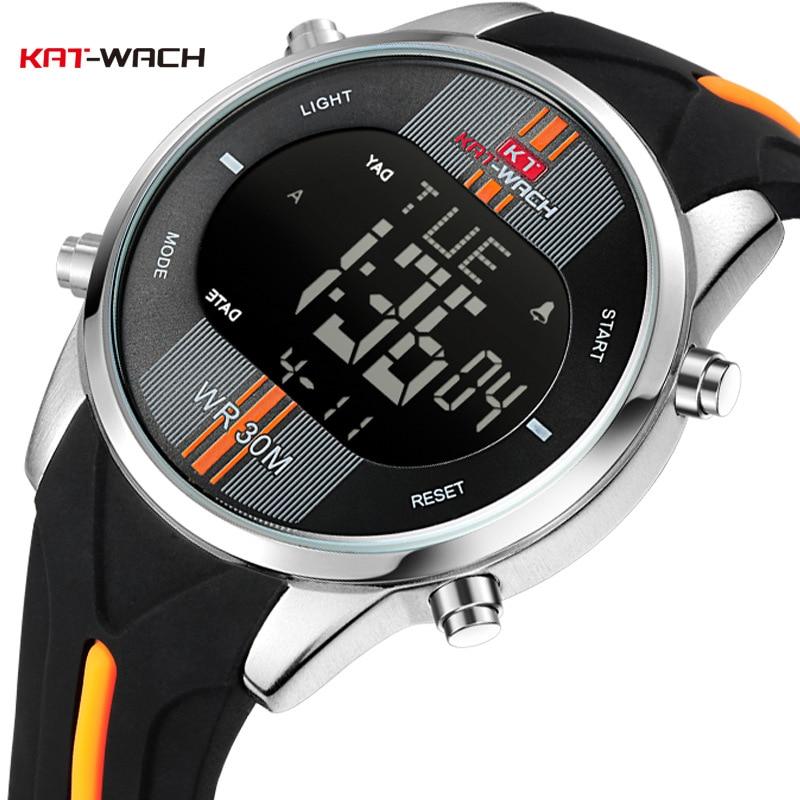 KAT-WACH marca de moda relógios masculinos esportes à prova dwaterproof água led digital quartzo militar relógio pulso relogio masculino