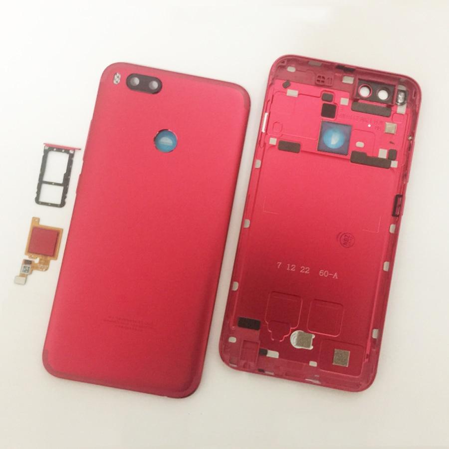 Image 2 - Original For Xiaomi Mi A1 5X MiA1 Mi5X Battery Cover Housing Back Door Housing + fingerprint sensor flex cable + +Sim TrayMobile Phone Housings & Frames   -