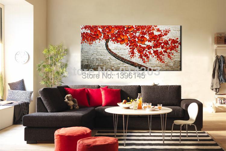 esptula pintura pintado a mano saln esttica rojo rbol floral de la sala abstracta