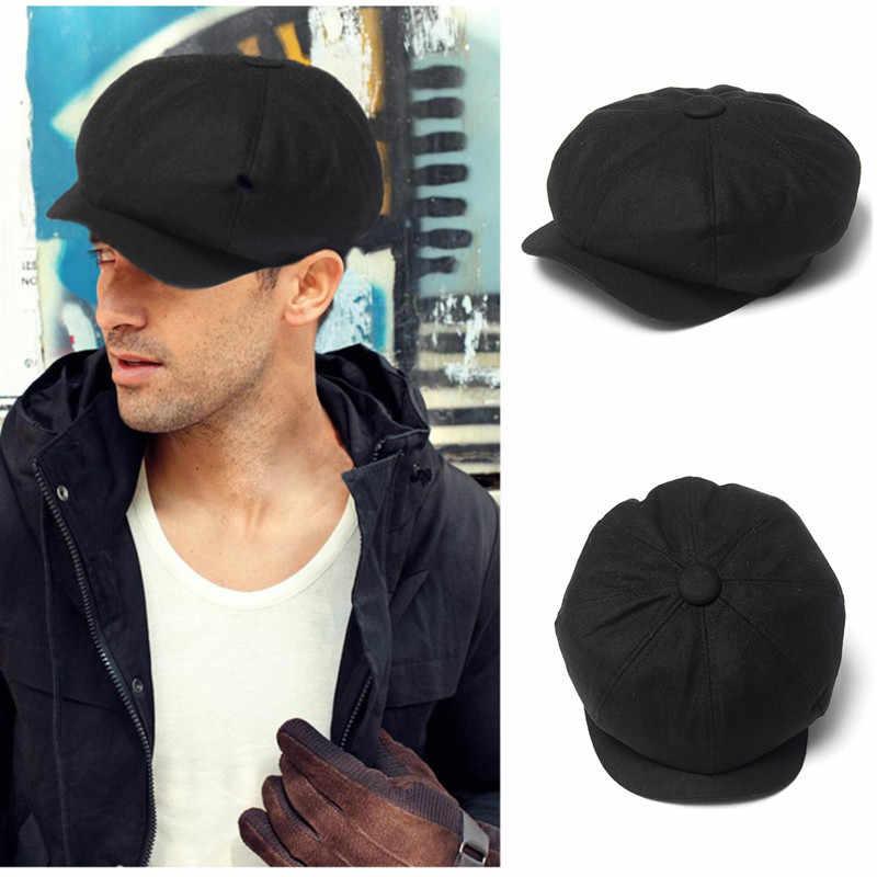 1217d77d420a5 Detail Feedback Questions about Men s Tweed Octagonal Caps Black ...