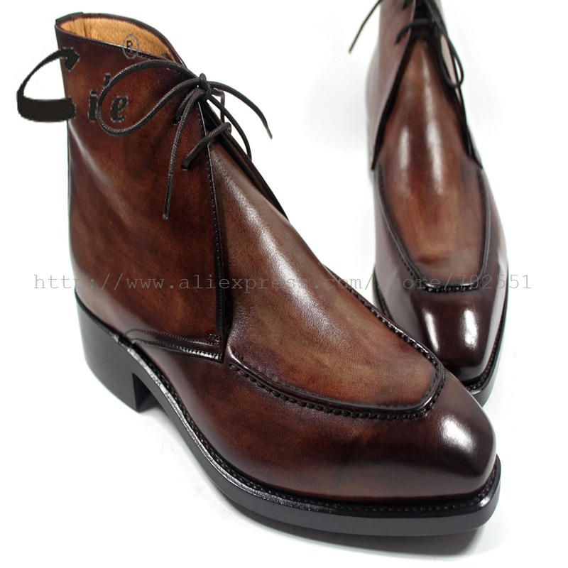 Men's Boots WELTED-CRAFT Goodyear Genuine-Calfskin-Leather Color Custom Cie Handmade