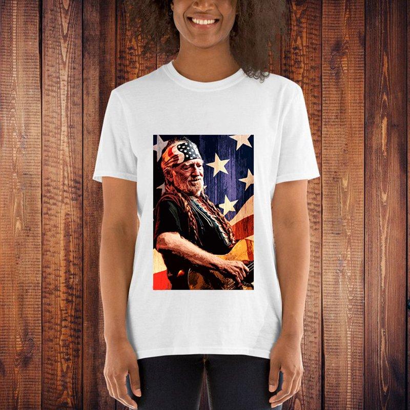 willie nelson tshirt flag graphic tees women 2019 fashion harajuku shirt streetwear print 90s casual cotton christmas shirts in T Shirts from Women 39 s Clothing
