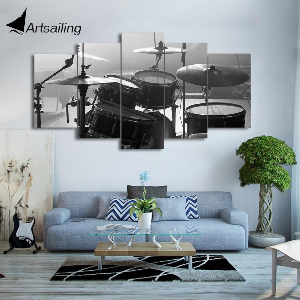 HD Printed 5 Piece Canvas Art Drum Painting font b Musical b font font b Instrument