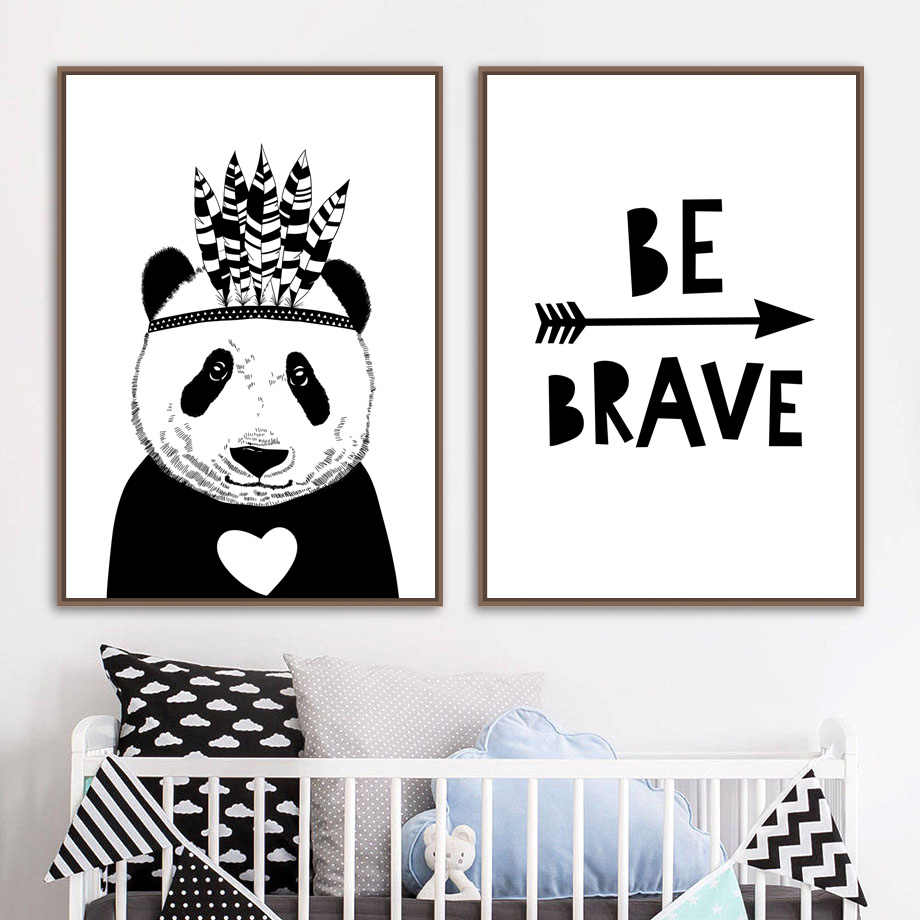 Cartoon Panda Feather Arrow Quotes Wall Art Canvas Painting Nordic Posters  And Prints Black White Wall Pictures Kids Room Decor