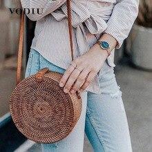 Beach Bag Straw Shoulder Bags Women Handbags Woven Rattan Sac A Main For Ladies Round Circle