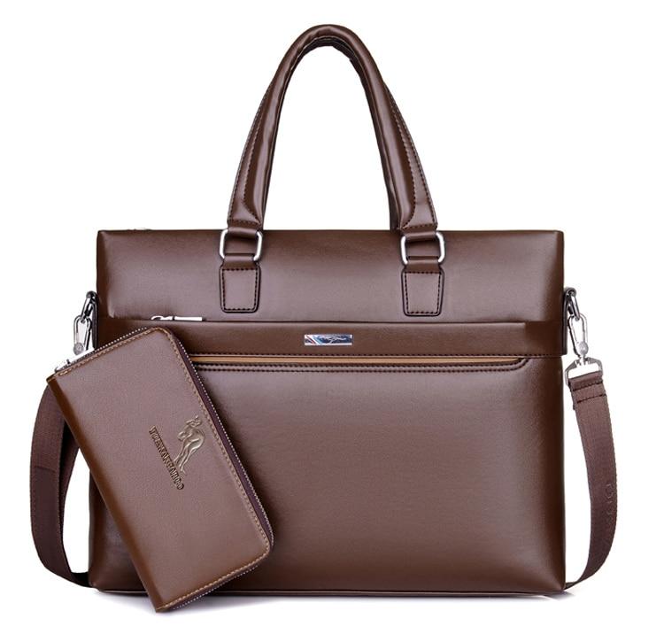 YUESKANGAROO Business Briefcase Leather Men Bag Computer Laptop Handbag Man Shoulder Bag Messenger Bags Black Brown