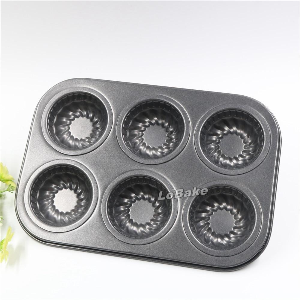 6 gut runde mit schraube muster nicht stick muffin cupcake. Black Bedroom Furniture Sets. Home Design Ideas