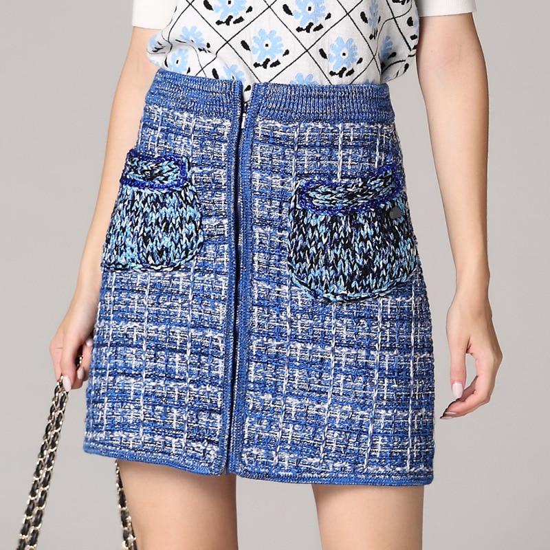 Automne Qualité Haute Coton Droite Jupe Mini Saia Designer Bleu Jupes Tricot Chic 2018 Casual Femmes Mince Poche RHxdRtwq