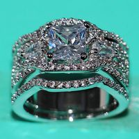 Size 5 10 Luxury Jewelry 7mm AAA CZ 10Kt white gold filled 3 in 1 Simulated stones Wedding Engagement Women Bridal Ring set gift
