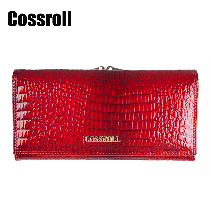 Cossroll Ladies Genuine Leather Wallet Women Long Cowhide Crocodile Pattern Designer Wallets High Quality Card Holder