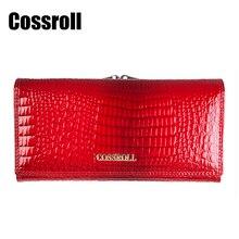Cossroll Damen Echtes Leder Brieftasche Frauen Lange Rindsleder Krokoprägung Designer Brieftaschen Hohe Qualität Kartenhalter Geldbörse Taschen