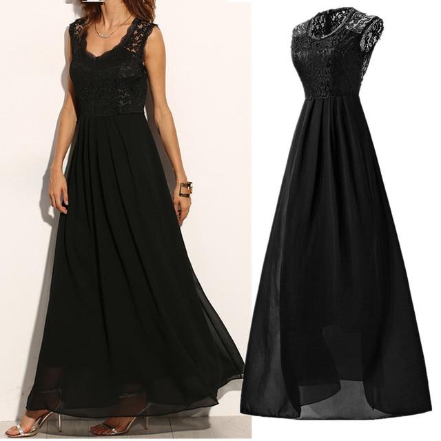 Vestido negro con azul