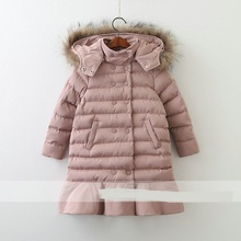 New Fashion Warm Girl Winter Clothes Solid Color Jacket Children Clothing Windbreaker Jackets Hooded Girls Thick Warm Long Coat
