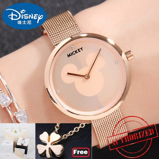 Disney Brand Original Gift Box Mickey Mouse Women's Watches Stainless Steel Leat
