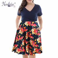 Nemidor Women Vintage Short Sleeve Casual Print Summer A line Dress V neck Plus Size 8XL 9XL Party Midi Swing Dress With Pockets