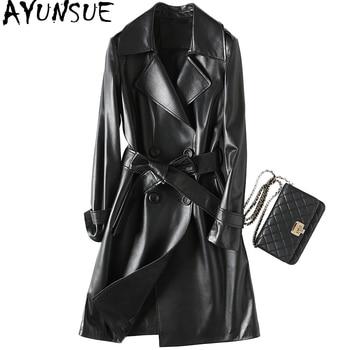 2018 de de moda mujeres genuina AYUNSUE cuero chaqueta oveja de piel HxXPZ