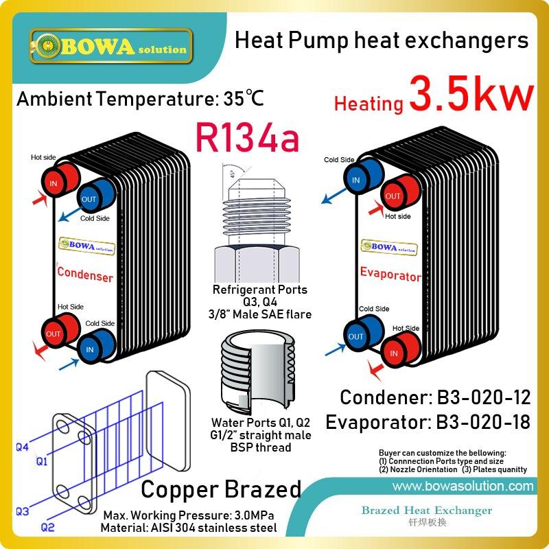 Теплообменники из нержавеющей стали кВт (испаритель и конденсатор), подходящие 1.5HP, высокотемпературные R134a тепловые насосы, водонагревател