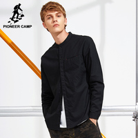 Pioneer Camp New Design Stand Collar Shirt Men Brand Clothing Solid Black Casual Shirt Male Top
