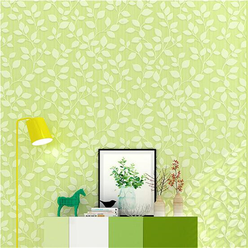 beibehang Modern minimalist 3D embossed green yellow leaves vertical stripes wallpaper den living room AB background wallpaper beibehang modern living room warm mediterranean vertical stripes 3d wallpaper living room bedroom covered wallpaper rolls