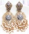Moda pérola do vintage brincos barroco oco pérola boemia borla grandes brincos de noiva contas de metal pingentes brinco mulheres