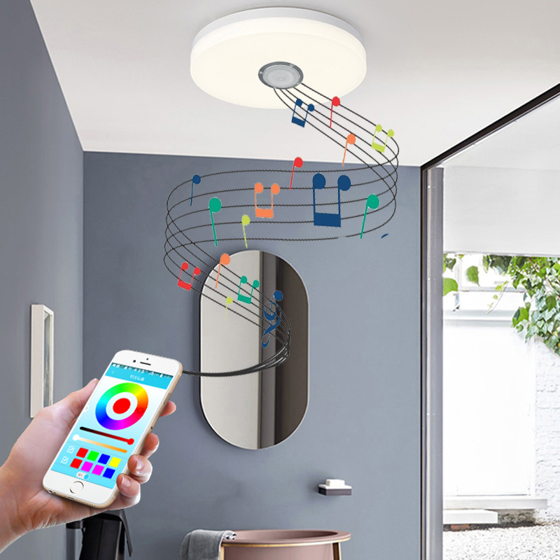 Modern ultra-thin LED ceiling light RGB dimmable 36W APP remote control Bluetooth music light living room bedroom ceiling light led ceiling light multi color and dimmable with bluetooth app and sound speaker for living room bedroom room
