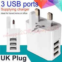 Redbearlin 50 ピース/ロット 3 USB ポート英国 3 フラットピンプラグ Ac アダプタ iphone のためのサムスン 4 5 6 6 s ipad mini 用