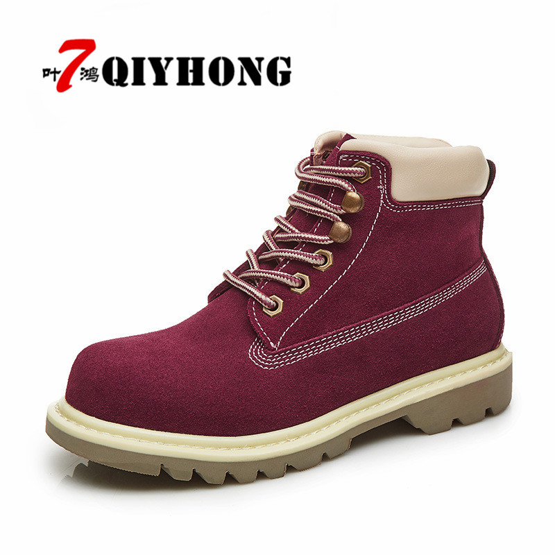 QIYHONG Big Size Plus Size 2017 Autumn Winter Shoes Women Ankle Boots Genuine Leather boots Women's Martin boots platform boots whitesun plus size boots women martin boots autumn winter shoes female ankle boots buckle retro style chunky heel short boots