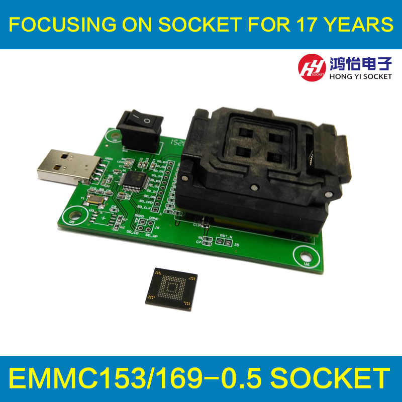 eMMC153/169 socket with USB nand flash test socket size 14x18 Pin Pitch 0.5mm for BGA169 BGA153 testing Clamshell Structure bga153 bga169 emmc test board programmer test block burning seat aging seat chip size 14x18 emmc169 153 development board