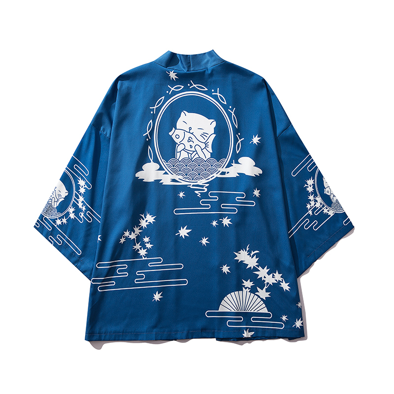 Bebovizi Japan Style Cat Printed Thin Kimono Men Japanese Streetwear Blue Jackets Casual Outerwear 2019 in Jackets from Men 39 s Clothing