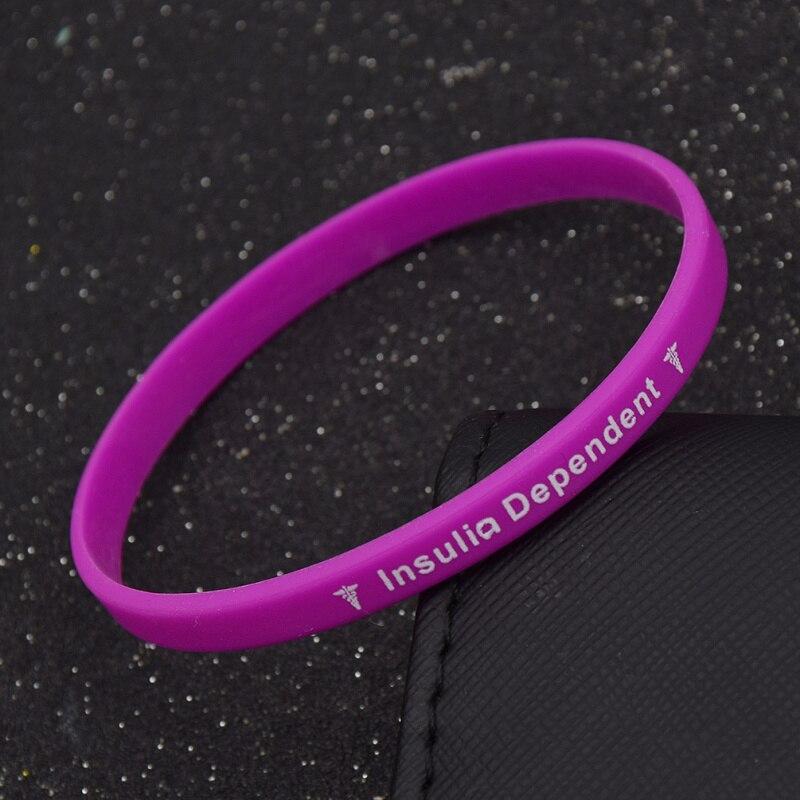 11f018c127c6 Pulsera de silicona dependiente de la insulina de la Diabetes del tipo 1 de  la alerta médica 5 colores pulsera de ejercicio de goma joyería Unisex para  ...