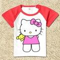 Niños 100% del Algodón de Las Camisetas Niños Doraemon Gato Del Gatito de Los Bebés Thomas Camiseta de la Historieta Muchachas Del Verano Remata Camisetas Elsa Anna