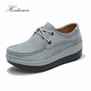 Image 3 - Hosteven Womens Shoes Flat Platform Female Shoe Woman Shoes Cow Suede Leather Spring Autumn Womens Loafers Moccasins