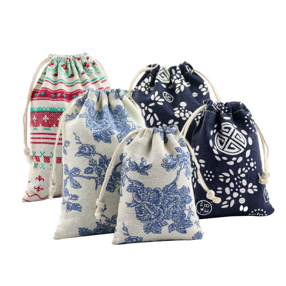 Chinese Style Jewelry Coin Pouch Print Drawstring Gift Bag Cotton Sachet Candy Travel Ethnic Wedding Party Christmas Gift Bags