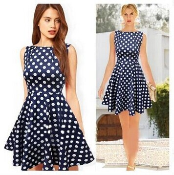b1375e3c5 Summer Hot Sale Women Latest Dress Designs Vintage Elegant Navy Blue Polka  Dot Dresspleated Sexy Mini Petite Dresses To Party